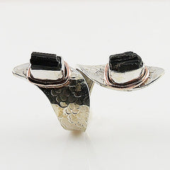 Black tourmaline Rough Two Tone Sterling Silver Adjustable Ring - Keja Designs Jewelry