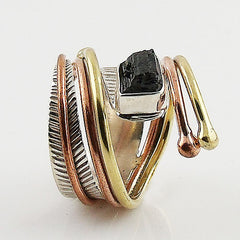 Black Tourmaline Rough Three Tone Sterling Silver Adjustable Wrap Ring - Keja Designs Jewelry