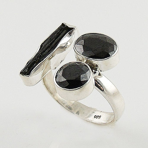 Black Tourmaline Rough & Black Onyx Adjustable Sterling Silver Ring - Keja Designs Jewelry