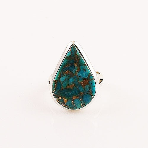 Blue Copper Turquoise Pear Sterling Silver Ring - Keja Designs Jewelry
