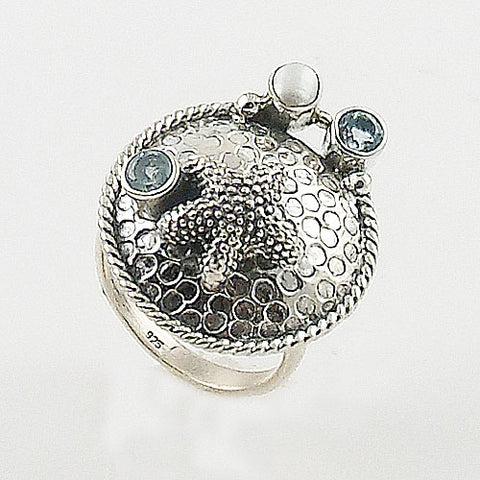 Starfish Blue Topaz & Pearl Sterling Silver Ring
