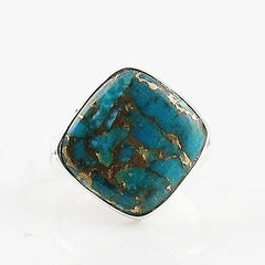 Copper Turquoise Diamond Sterling Silver Ring - Keja Designs Jewelry