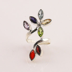 Multi Gemstone Sterling Silver Leaf Chakra Ring - Keja Designs Jewelry