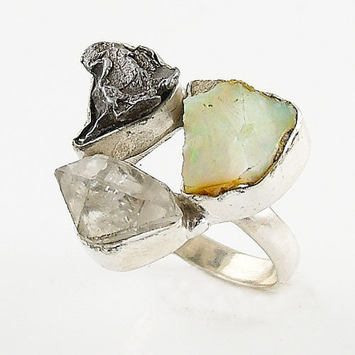 Herkimer Diamond, Campo de Cielo Meteorite & Ethiopian Opal Rough Sterling Silver Ring - Keja Designs Jewelry