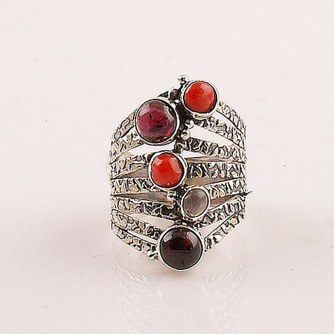 Raspberry Bubbles Garnet & Coral Sterling Silver Ring