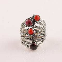 Raspberry Bubbles Garnet & Coral Sterling Silver Ring - Keja Designs Jewelry