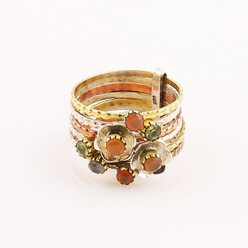 Peridot and Carnelian Sterling Silver Three Tone Stack Ring - Keja Designs Jewelry