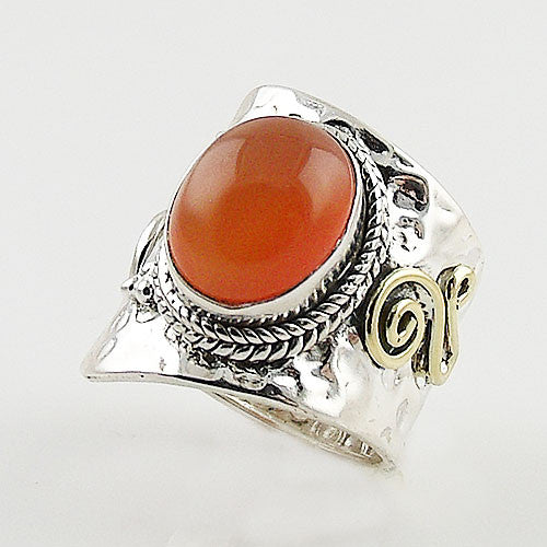 Carnelian Sterling Silver Two Tone Adjustable Wrap Ring - Keja Designs Jewelry