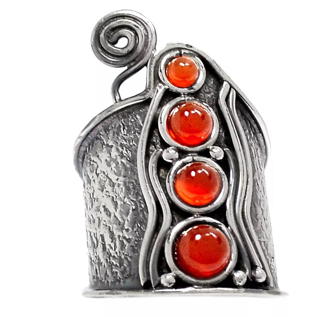 Carnelian Sterling Silver Whimsical Band Ring - Keja Designs Jewelry