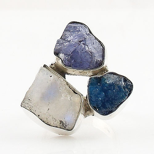 Tanzanite Rough, Moonstone Rough & Cavansite Crystal Ring - Keja Designs Jewelry