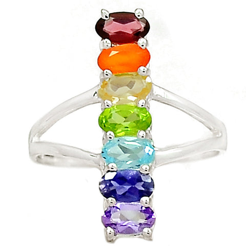 Multi Gemstone Sterling Silver Oval Line Chakra Ring