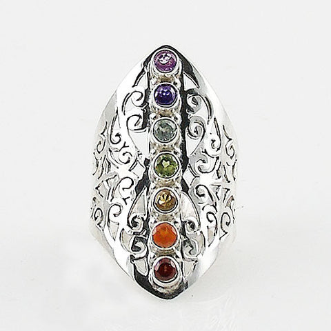 Chakra Multi-Stone Cut Out Scroll Sterling Silver Ring