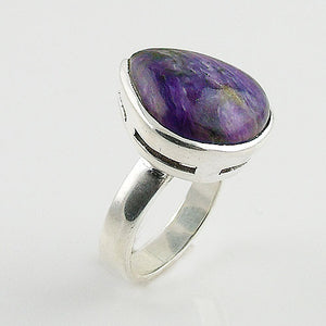 Charoite Solitaire Sterling Silver Ring - Keja Designs Jewelry