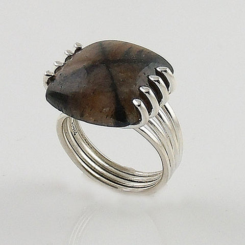"Chiastolite ""Cross Stone"" Sterling Silver Ring"