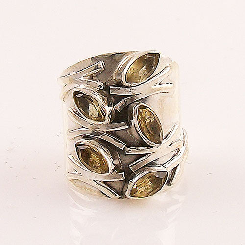 Citrine Fall Leaves Sterling Silver Band Ring - Keja Designs Jewelry