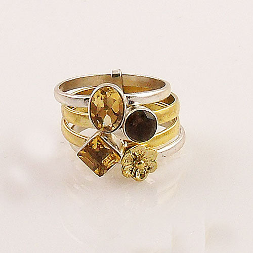 Citrine & Smoky Quartz Sterling Silver Three Tone Stack Ring - Keja Designs Jewelry