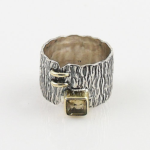 Citrine Two Tone Artisan Crafted Ring - Keja Designs Jewelry