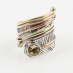 Citrine Adjustable Three Tone Sterling Silver Wrap Ring - Keja Designs Jewelry