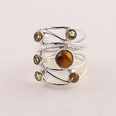 Citrine & Tigers Eye Sterling Silver Two Tone Ring - Keja Designs Jewelry