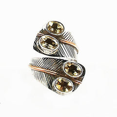 Citrine Two Tone Adjustable Sterling Silver Leaf Ring - Keja Designs Jewelry