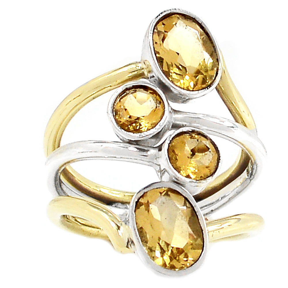 Citrine Two Tone Sterling Silver Ring