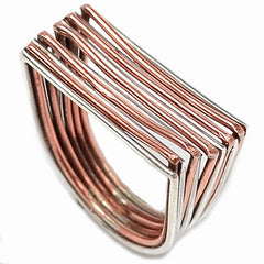 Sterling Silver & Copper Layered Ring - Keja Designs Jewelry