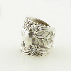 Elephant Sterling Silver Leaf Patterns Animal Wrap Ring - Keja Designs Jewelry
