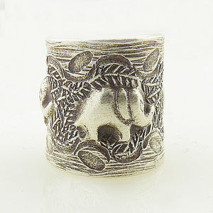 Elephant Family Sterling Silver Animal Wrap Ring - Keja Designs Jewelry