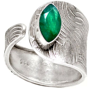 Emerald Sterling Silver Adjustable Ring - Keja Designs Jewelry