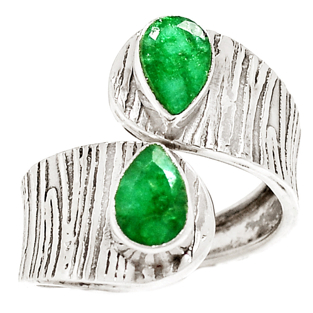 Emerald Sterling Silver Adjustable Wrap Ring - Keja Designs Jewelry