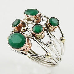 Emerald Sterling Silver Three Tone Collage Ring - Keja Designs Jewelry