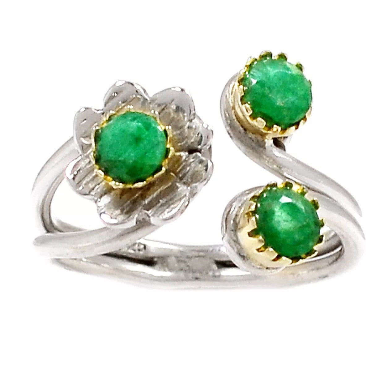 Emerald Two Tone Sterling Silver Adjustable Floral Ring - Keja Designs Jewelry