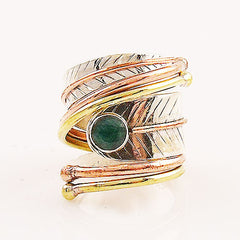 Turquoise Three Tone Sterling Silver Adjustable Wrap Ring - Keja Designs Jewelry