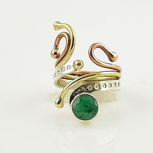 Emerald Three Tone Sterling Silver Adjustable Ring - Keja Designs Jewelry