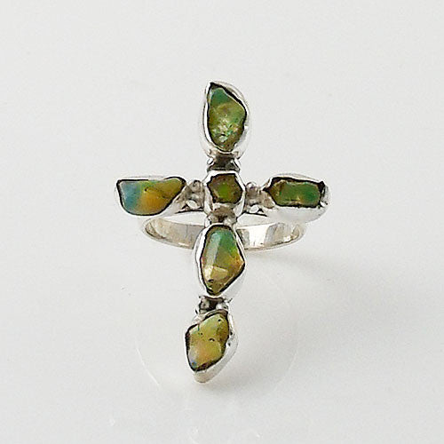 Ethiopian Opal RoughTwo Tone Cross Sterling Silver Ring - Keja Designs Jewelry
