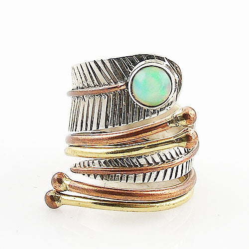 Ethiopian Opal Sterling Silver Three Tone Adjustable Wrap Ring - Keja Designs Jewelry