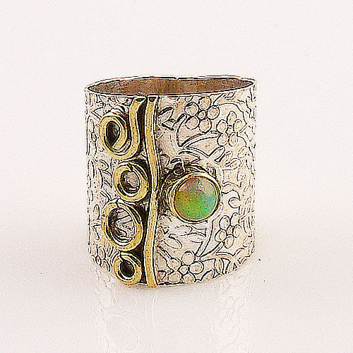 Ethiopian Opal Two Tone Wide Band Ring - Keja Designs Jewelry