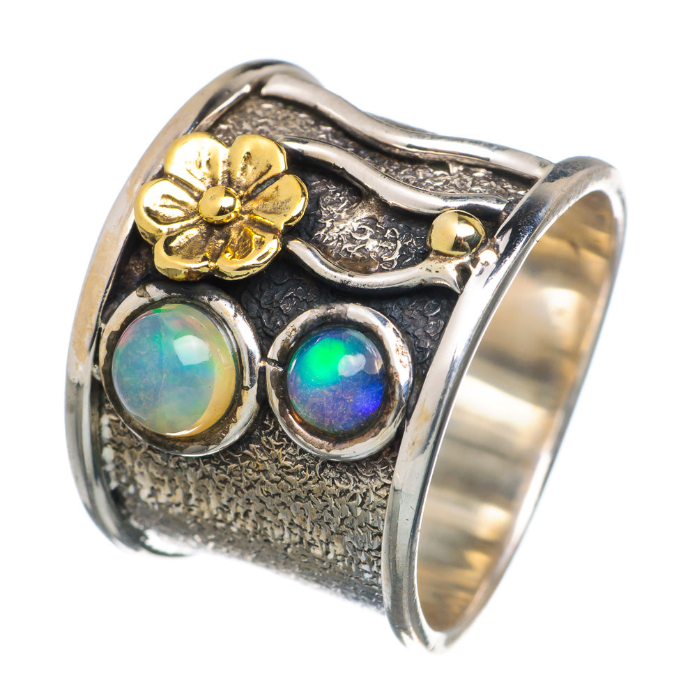 Ethiopian Opal Sterling Floral Band Ring - Keja Designs Jewelry