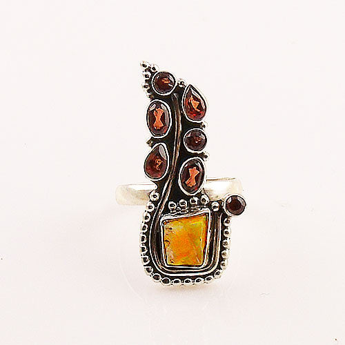Ethiopian Opal Rough & Garnet Paisley Sterling Silver Ring - Keja Designs Jewelry