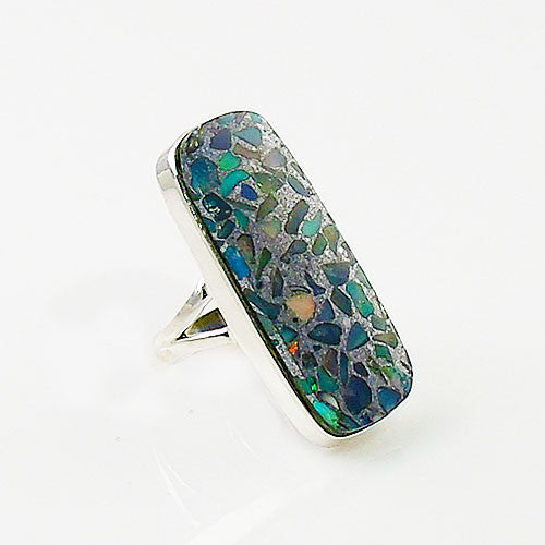 Ethiopian Opal in Pyrite Sterling Silver Ring - Keja Designs Jewelry