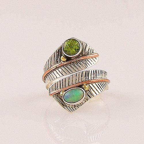 Ethiopian Opal and Peridot Three Tone Adjustable Wrap Ring - Keja Designs Jewelry