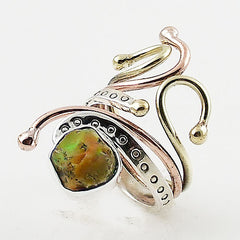 Ethiopian Opal Rough Cut Three Tone Sterling Silver Adjustable Ring - Keja Designs Jewelry