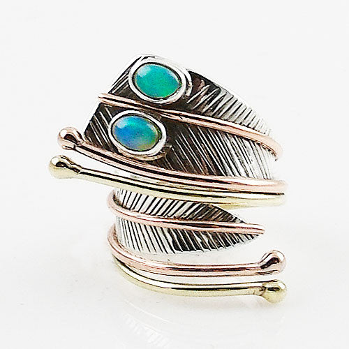 Ethiopian Opal Double Stone Three Tone Sterling Silver Adjustable Wrap Ring - Keja Designs Jewelry