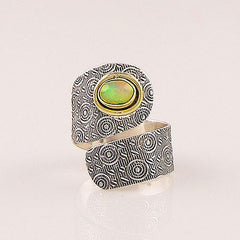 Ethiopian Opal Sterling Silver Two Tone Adjustable Wrap Ring - Keja Designs Jewelry