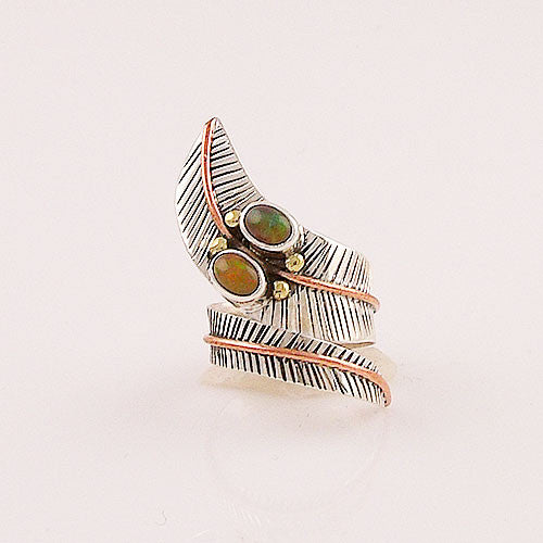 Ethiopian Opal Three Tone Sterling Silver Adjustable Wrap Ring - Keja Designs Jewelry