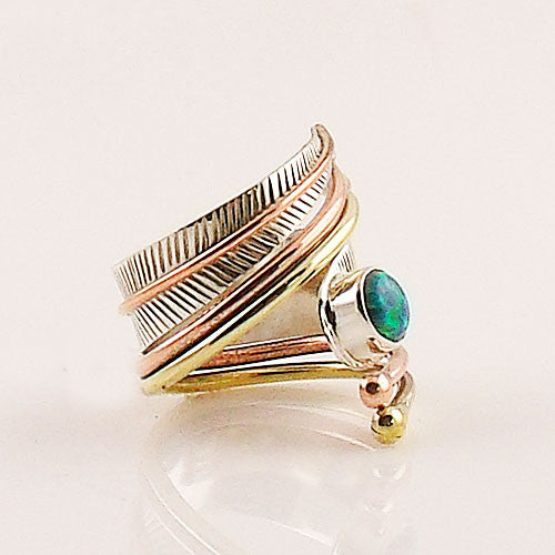 Fire Opal Sterling Silver Three Tone Adjustable Wrap Ring - Keja Designs Jewelry