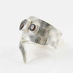Garnet Adjustable Sterling Silver Swirl Ring - Keja Designs Jewelry