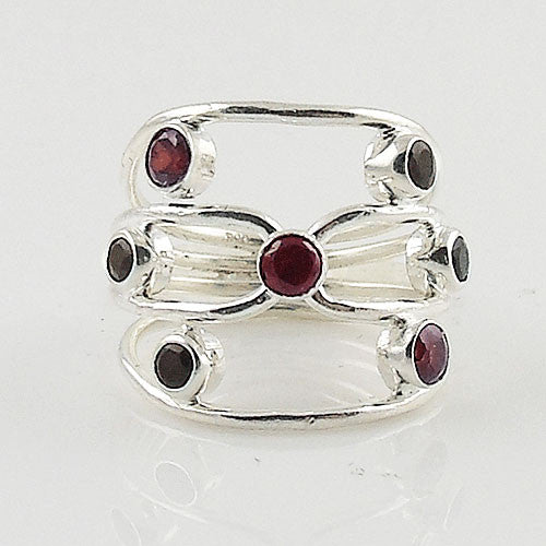 Garnet & Black Onyx Sterling Silver Ring - Keja Designs Jewelry