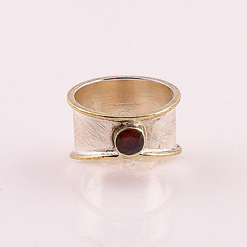 Garnet Sterling Silver Two Tone Ring - Keja Jewelry - Keja Designs Jewelry