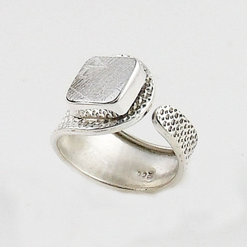 Gibeon Meteorite Sterling Silver Adjustable Ring - Keja Designs Jewelry